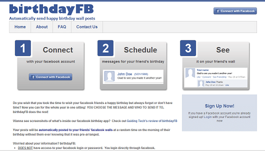 Birthday FB website login with your facebook account