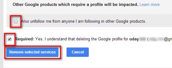 profile deletion confirmation check marks